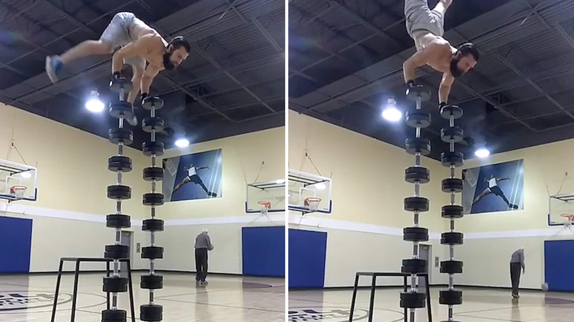 Alles im Gleichgewicht: Fitness-Freak protzt mit kurioser Akrobatik