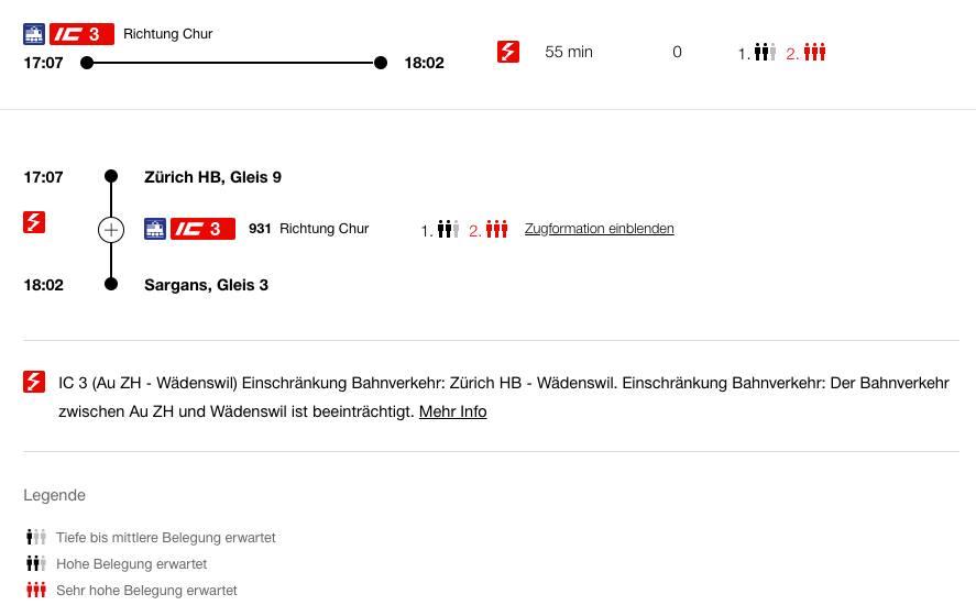 Zürich–Chur: Zugausfälle wegen Gleisschaden bei Thalwil