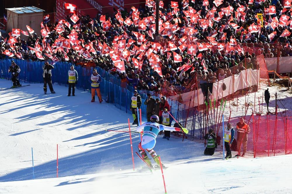 Triumph! Daniel Yule on the finish slope at Chuenisbärgli.