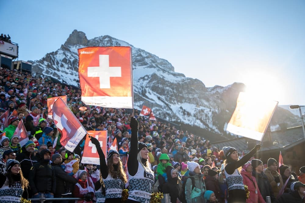 Bright weather and a Swiss ski party in Adelboden.
