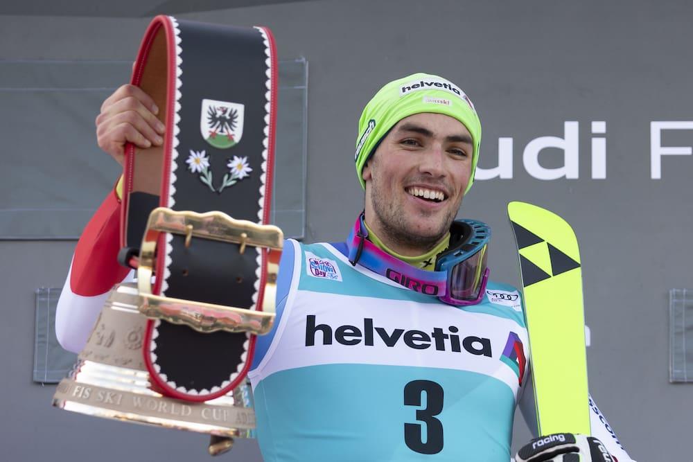 High the bell: Daniel Yule triumphs in the slalom in Adelboden.