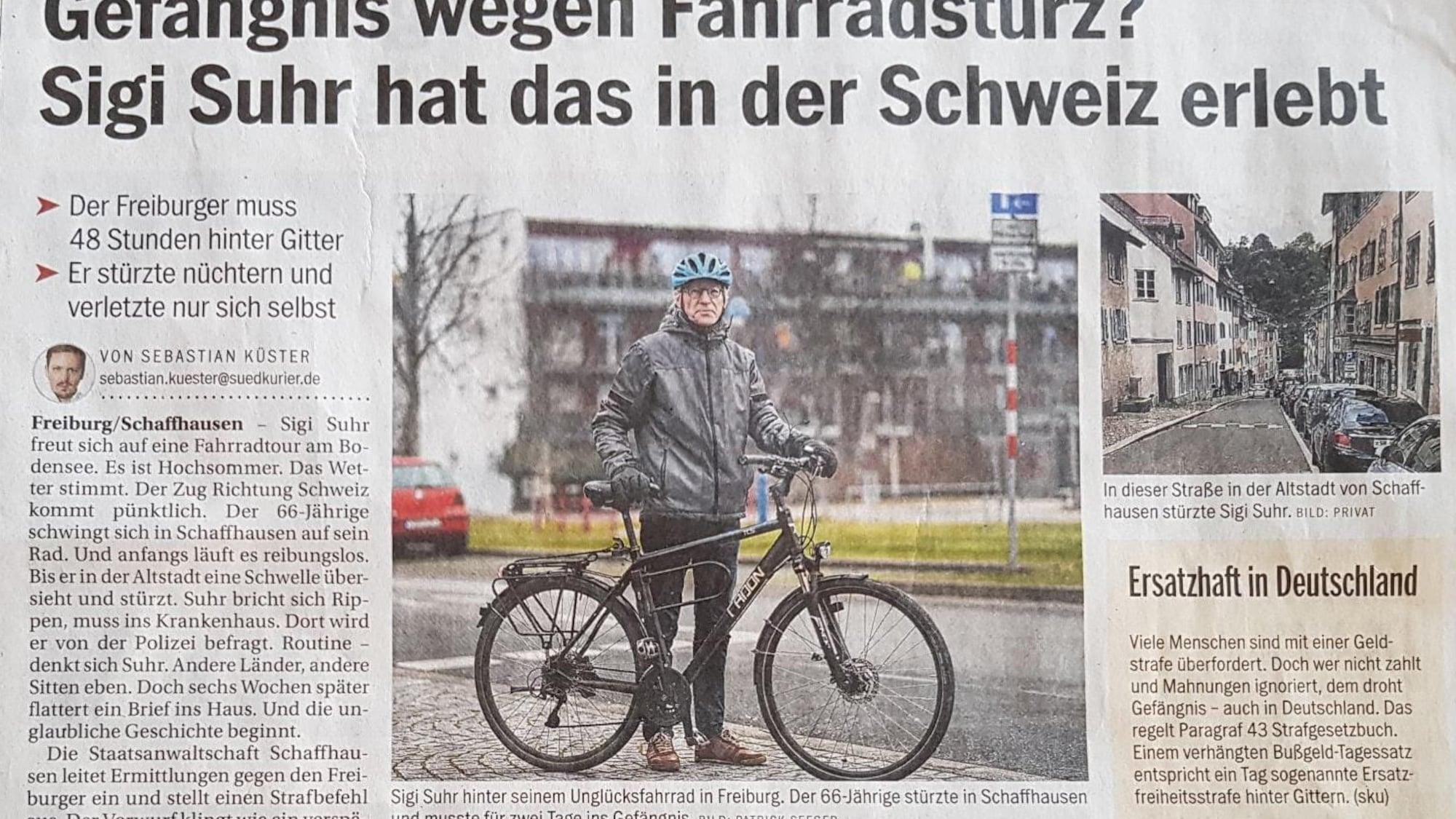 Schaffhauser Bussen-Irrsinn macht Schlagzeilen: Deutscher (66) muss wegen Velo-Sturz in den Knast