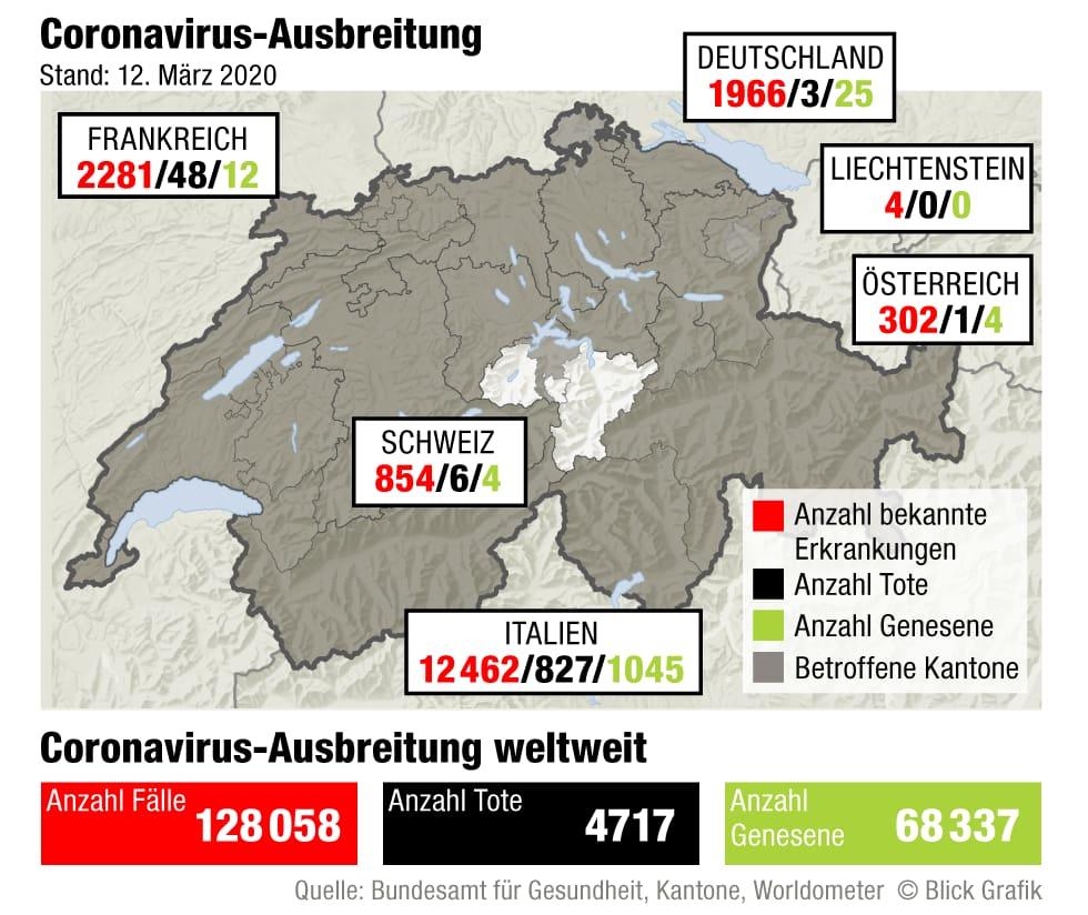 Coronavirus - Ausbreitung Schweiz und umliegende Länder
