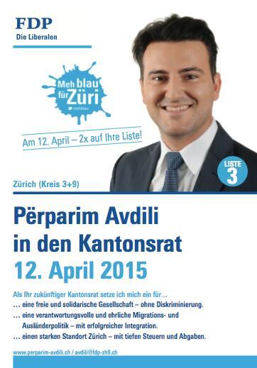 Exotisches Wahlplakat von Përparim Avdili: FDP-Politiker