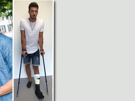 Bein gebrochen gips krücken