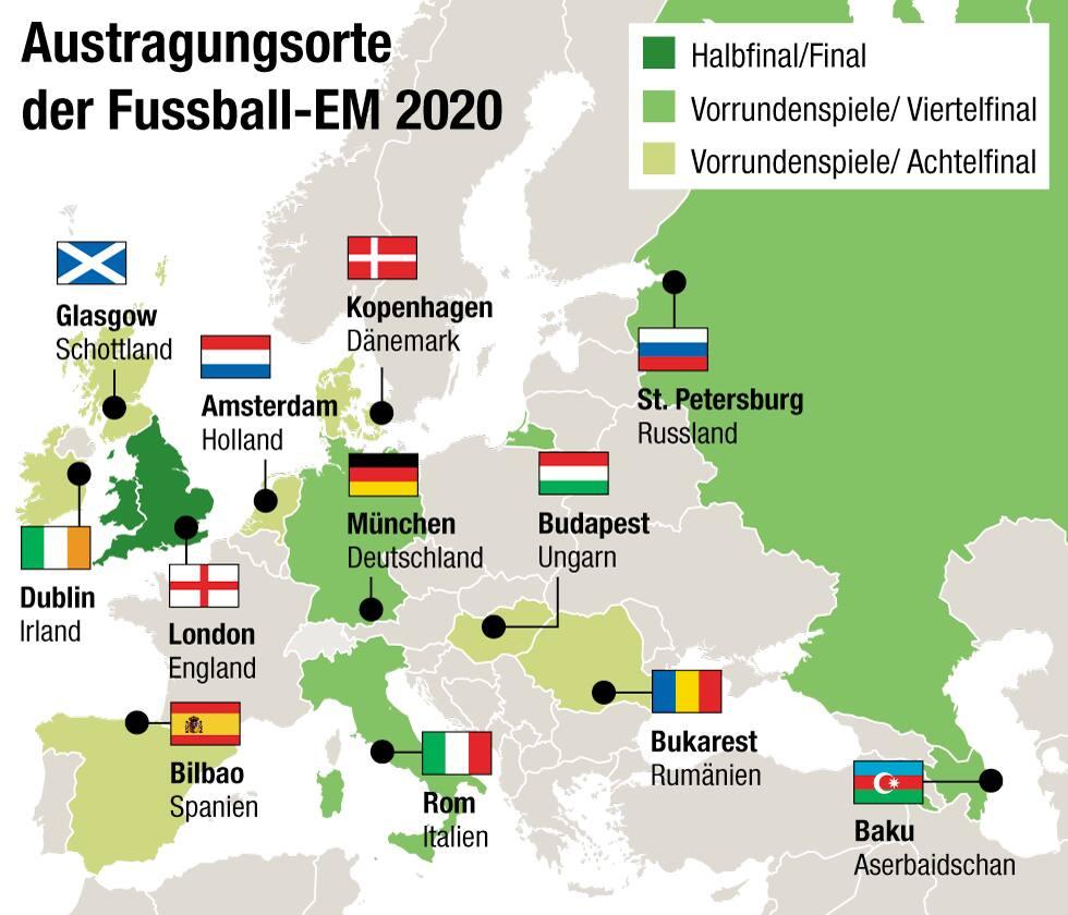 Wo Findet Die Fussball Em 2020 Statt 24 Teams 12 Lander