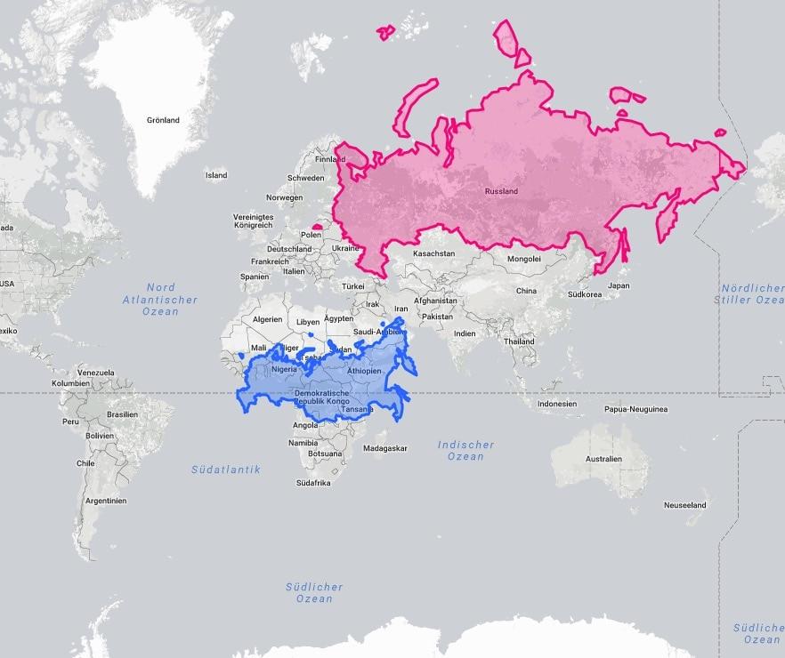 Die Weltkarte Mit Ihrer Wahren Grosse So Gross Sind Lander Blick