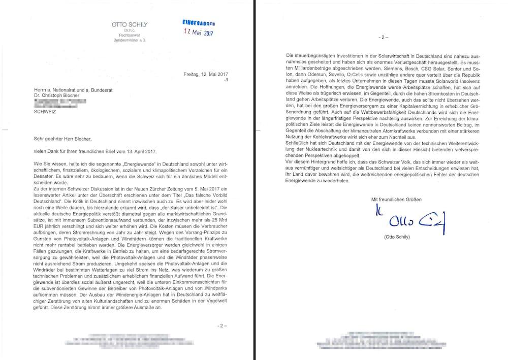 Grünen Vize Girod Kontert Schilys Blocher Brief Vergleich Mit